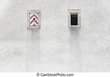 Small red white window shutter with heart