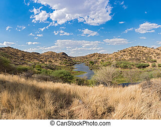 Small reservoir in the mountains in the north of Windhoek, Namibia