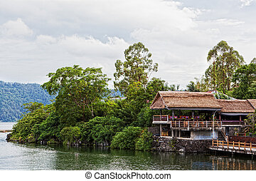 Small restaurant on the lake in a crater of a volcano of...