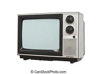 Small Retro Television Isolated with Clipping Path