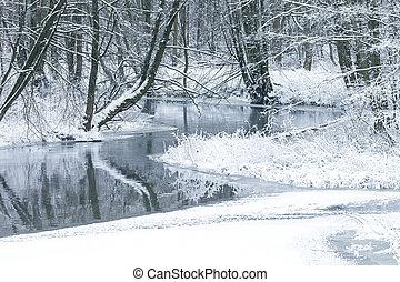 Small river in the winter