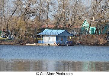 Small river quay on Dnieper river, Kiev, Ukraine