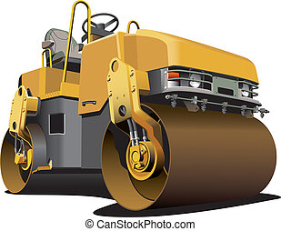 small road roller - detailed vectorial image of light-brown ...