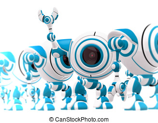 Small Robot Waving Hi and Standing Out - A small robot...