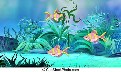 Small Rose-yellow striped aquarium fishes in a tank