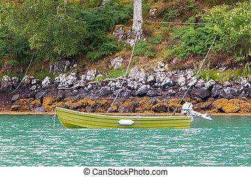 Small rowboat on a lake