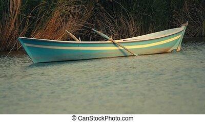 Small rowing boat anchored between the reeds at Mogan Lake...