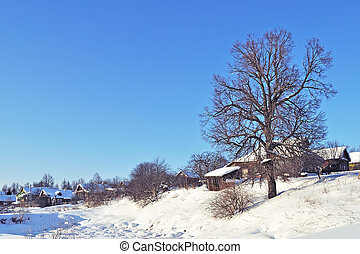 Small russian village in winter time