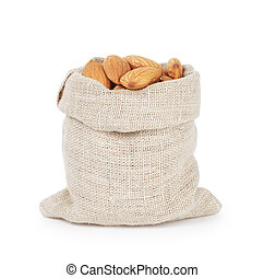 small sack bag full of dried almond nuts