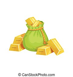 Small Sack With Golden Bars, Hidden Treasure And Riches For Reward In Flash Came Design Variation
