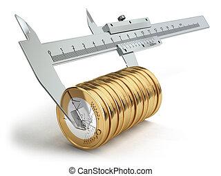 Small salary concept. Caliper measuring coins euro.