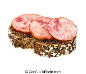 Small sandwich with smoked sausage