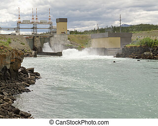 Small scale hydro-electric power station in Whitehorse, Yukon Territory, Yukon