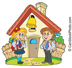 Small school with kids in uniforms - vector illustration.