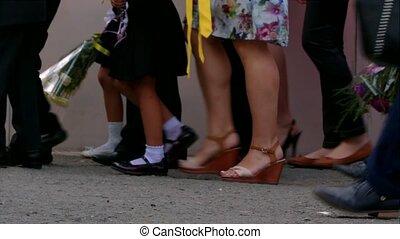 Small Schoolchildren Walking At School Yard - Waist down ...