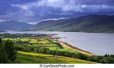 Small Scottish Village Surrounded By Mountainous Highlands -...