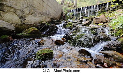 Small serene mountain creek flowing over stones in summer nature