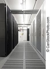 small server room with racks mounts