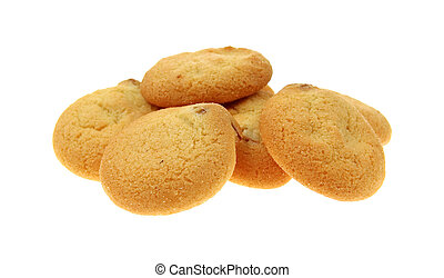 Small group of diet pecan shortbread cookies on a white background.