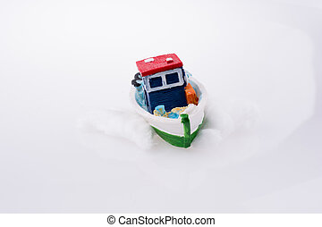 Small Ship model on a white background