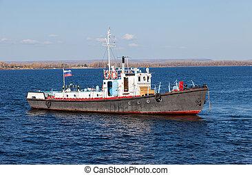Small ship on river Volga near Samara, Russia