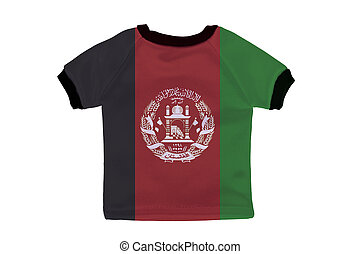 Small shirt with Afghanistan flag isolated on white background