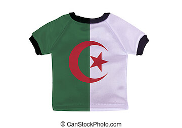 Small shirt with Algeria flag isolated on white background