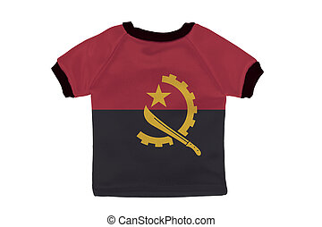 Small shirt with Angola flag isolated on white background