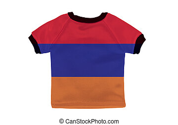Small shirt with Armenia flag isolated on white background