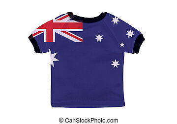 Small shirt with Australia flag isolated on white background