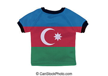 Small shirt with Azerbaijan flag isolated on white background
