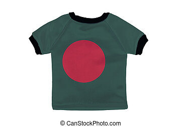 Small shirt with Bangladesh flag isolated on white background