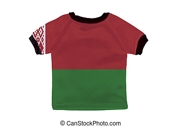 Small shirt with Belarus flag isolated on white background