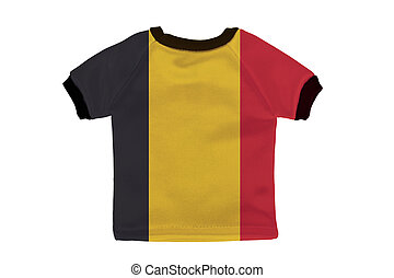 Small shirt with Belgium flag isolated on white background