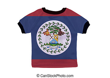 Small shirt with Belize flag isolated on white background
