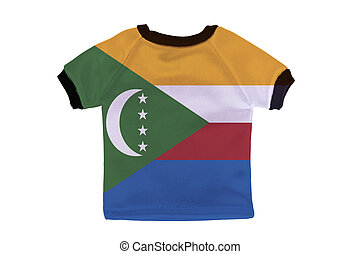 Small shirt with Comoros flag isolated on white background