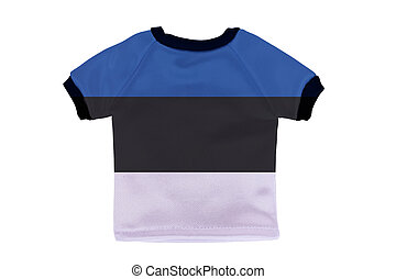 Small shirt with Estonia flag isolated on white background