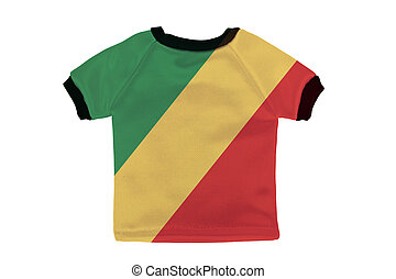 Small shirt with Republic of the Congo flag isolated on white background