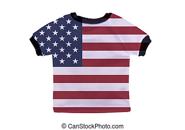 Small shirt with USA flag isolated on white background
