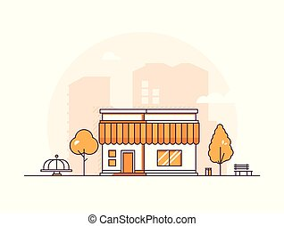Small shop - modern thin line design style vector...