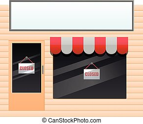 Small shop with closed sign vector