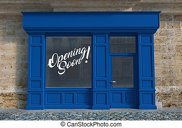 3D rendering of a traditional storefront fa?ade with an opening soon notice