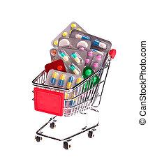 Small shopping cart full of pills
