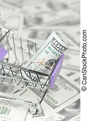 Small shopping trolley with dollars banknotes. Concept of cashback and bargains on sale