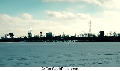 Small silhouette walking on industrial background - Small...