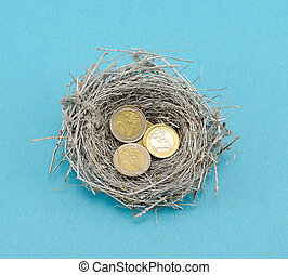 silver bird nest and euro coins money on blue - small silver...