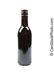 Small size full bottle of red wine isolated on white background.