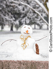 small snowman in the park