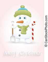 Small Snowman with Spade and Candy