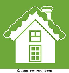 Small snowy cottage icon green